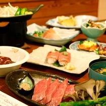 飛騨牛付会席料理(寿司は別注になります。)
