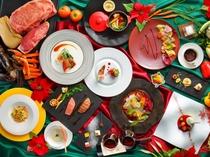 前菜とメインを3種からチョイスできるプリフィックスコースのクリスマスディナー