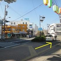 ④商店街を抜けたら右へお進み下さい