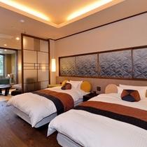 2014年リニューアル伊勢湾展望風呂付客室ベッドルーム