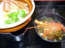 朝食の伊勢えび創作お雑炊とお味噌汁