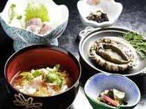 旬のアワビ1人1個&鯛茶付 日帰りプランのお料理