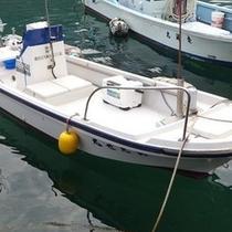 お父さんの船です!これで美味しいお魚を釣りに行きます!