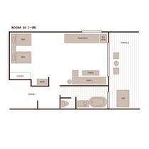 離れ客室の間取り一例(室内55平米+テラス27平米)