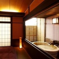 【別邸れとろ 露天付客室】大人気の「和モダン」な雰囲気の造り。10畳と広く特にカップルにお勧めです。