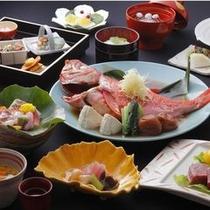 【伊豆の季味膳】 名物の金目鯛料理とお肉料理が付いた基本料理