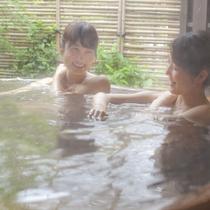 【貸切露天風呂】弱アルカリ性の美肌の湯をお楽しみください。