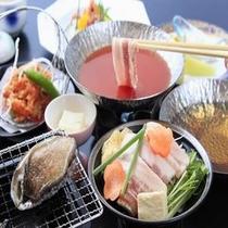 鮑&選べる2色鍋♪お鍋はトマトor和風出汁よりお選びください