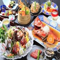 【金目鯛・元祖熱海煮】にプラスして伊勢海老のお造りが付く豪華コース