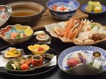 【料理・季節メニュー】(11月〜2月限定蟹すきプラン一例)