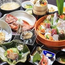 金目鯛以外にも鯛のお造り、鮑又はステーキのチョイス等【伊豆海の膳】はお祝い旅行にもオススメです!