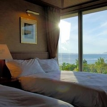 客室は、全てオーシャンビューが楽しめる様、海向きに建てられています。