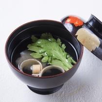 旬のお魚と野菜山菜のお吸い物