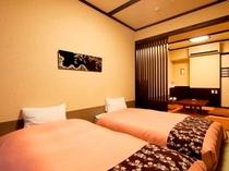 「和洋室」シングルベッド2台+くつろぎ空間