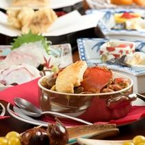 お宿定番メニュー丸カニの魚介スープ