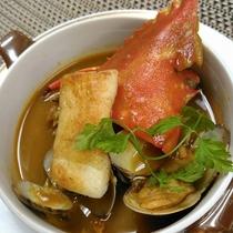 ヒラツメ蟹(渡り蟹)のビスク風スープ