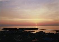 鴎島の夕日