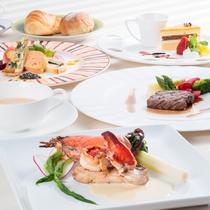 【ディナー一例】長崎の季節の海の幸、山の幸を使ったオリジナル創作料理です
