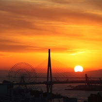 客室からの夕日(海側)