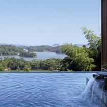 露天風呂(昼) 松島湾を望むことが出来る絶景風呂