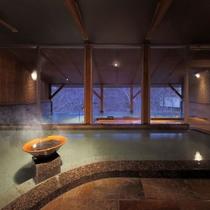 【土】がテーマの大浴場正面から露天風呂