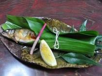 夕食は、旬を活かした季節の山里料理。鮎の塩焼も絶品!(一例).jpg