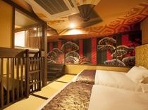 ■コンセプトルーム 歌舞伎・侍28㎡◆セミダブル(120cm幅)×2台 二段ベッド ソファーベッド