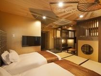 ■コンセプトルーム 富士・桜36㎡◆セミダブル(120cm)×2台 二段ベッド×2台 ソファーベッド
