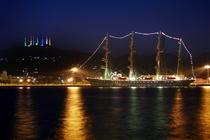 室蘭港と測量山のライトアップ