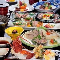 ■料理集合(特企料理・伊勢天、鮑しゃぶ)