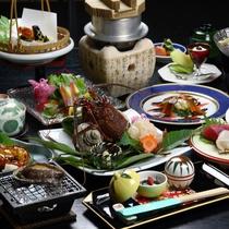 ■料理 集合(伊勢造り・鮑焼・伊勢焼少し見切れ)ウイング