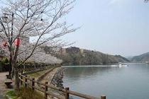湖畔(桜、船)