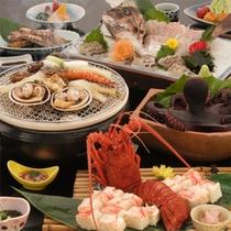 お料理一例(海鮮魚礁焼き+伊勢海老寿司)