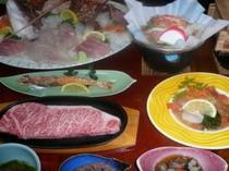 松阪牛ステーキと船盛り
