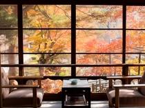 ◆【松の間5 二間】  角部屋より眺め 秋