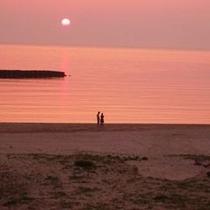 ピンク色の夕日