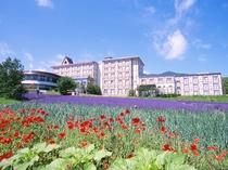 【外観】夏は美しい花たちがお出迎え。富良野の自然を満喫