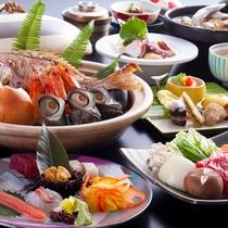 【冬の膳】冬の淡路の鮮魚と山里の幸をメインにちりばめた地産地消の旬のディナーコース。