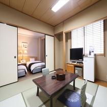 和洋室(広さ43.5㎡/ベッド幅124㎝+布団)