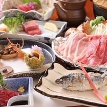 【夕食】ヤマメや馬刺しなども味わえる/一例