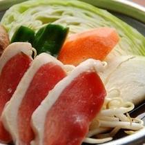 【夕食・カモのすき焼き】