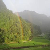 耶馬溪(やばけい)にかかる虹
