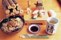 手打そば・知内産魚介類を使用したお寿司