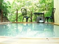 貸切露天風呂で温泉に入りながら森林浴