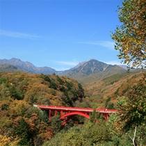 清里高原の有名な赤い橋『東沢大橋』の紅葉は素敵です。