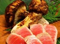 特選トロのあぶり焼きと松茸の朴葉焼き(ほうばやき)
