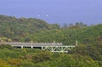 陸橋を渡る電車
