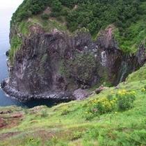 切り立つ断崖からか細く流れるフレペの滝