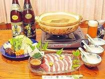 合鴨の「鴨鍋」一例。小グループ宴会などにもお勧めです