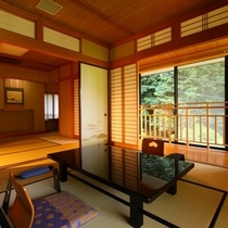 【2F「雪の間」純和室/喫煙】光と風が舞い込む開放感あるお部屋。各階に1室だけ(計3室)の部屋タイプ